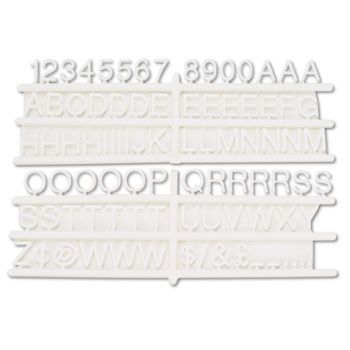 """Tabbee Sign Characters, Tab, White, 3/4""""h, 258/set"""