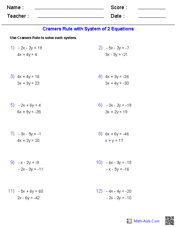 Cramer\'s Rule 2x2 | colleges | Pinterest | Algebra, Worksheets and Math