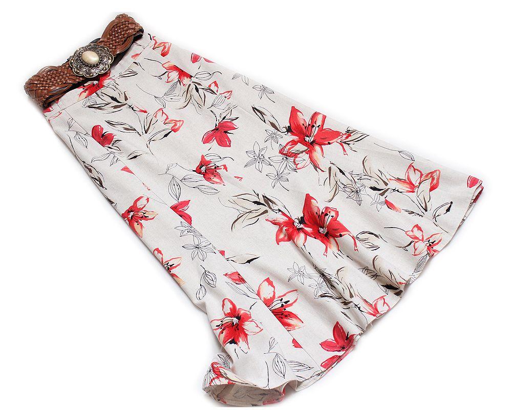 C A Lniana Piaskowa Spodnica Na Wiosne Lato 44 7303127993 Oficjalne Archiwum Allegro Floral Tie Floral Fashion