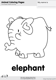 Free Elephant Coloring Page From Super Simple Learning Tons Of Animal Worksheets And Flashcards