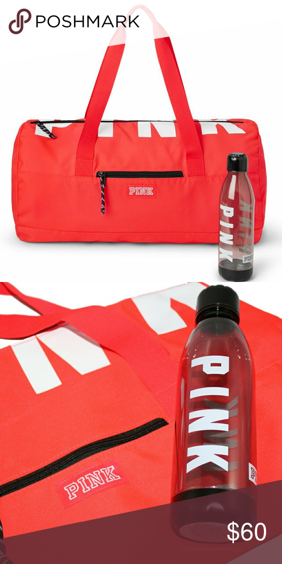 1cc2d8cffe VS PINK Bundle Neon Red Duffel and Water Bottle New with all tags included Water  Bottle