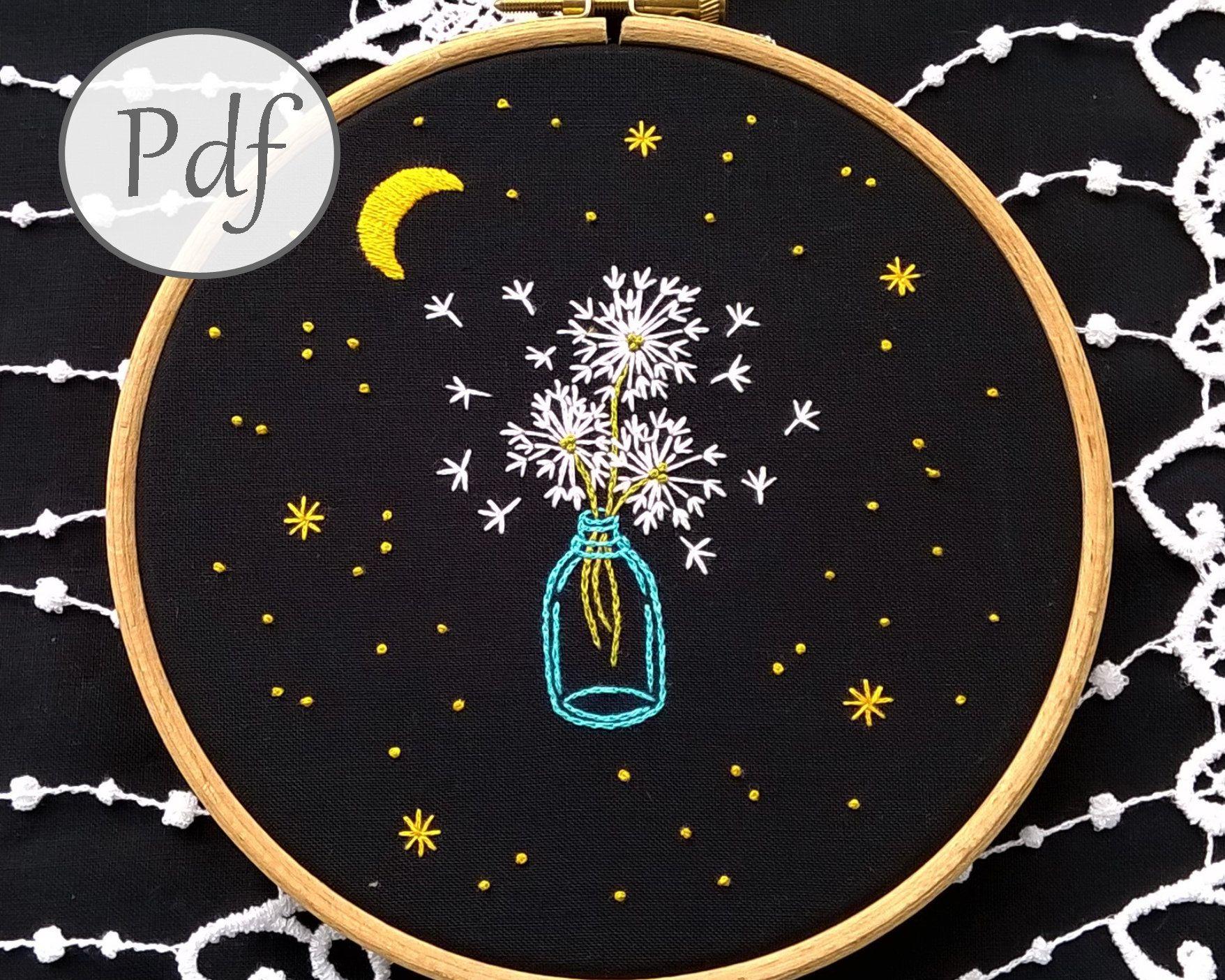 motif de broderie à la main pdf – cosmos et pissenlit – motif de broderie moderne, pissenlit couture Téléchargement instantané, décoration murale chambre d'enfant   – modern embroidery