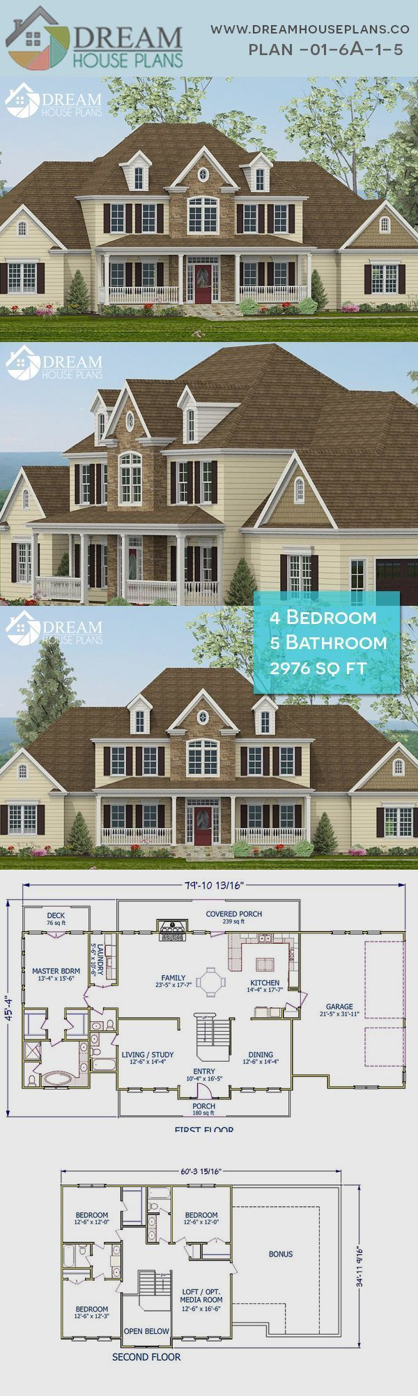 Dream House Plans Best Southern Living Family 4 Bedroom 2976 Sq Ft House Pla Dream House Plan In 2020 Craftsman House Plans Dream House Plans Ranch House Plans