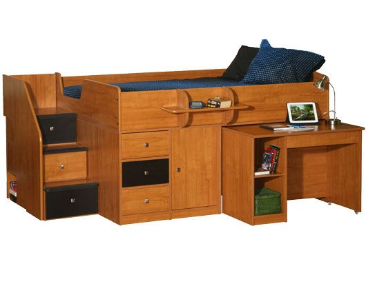 Captain S Bed With Hideaway Desk In Full Sized The Is On Wheels So You