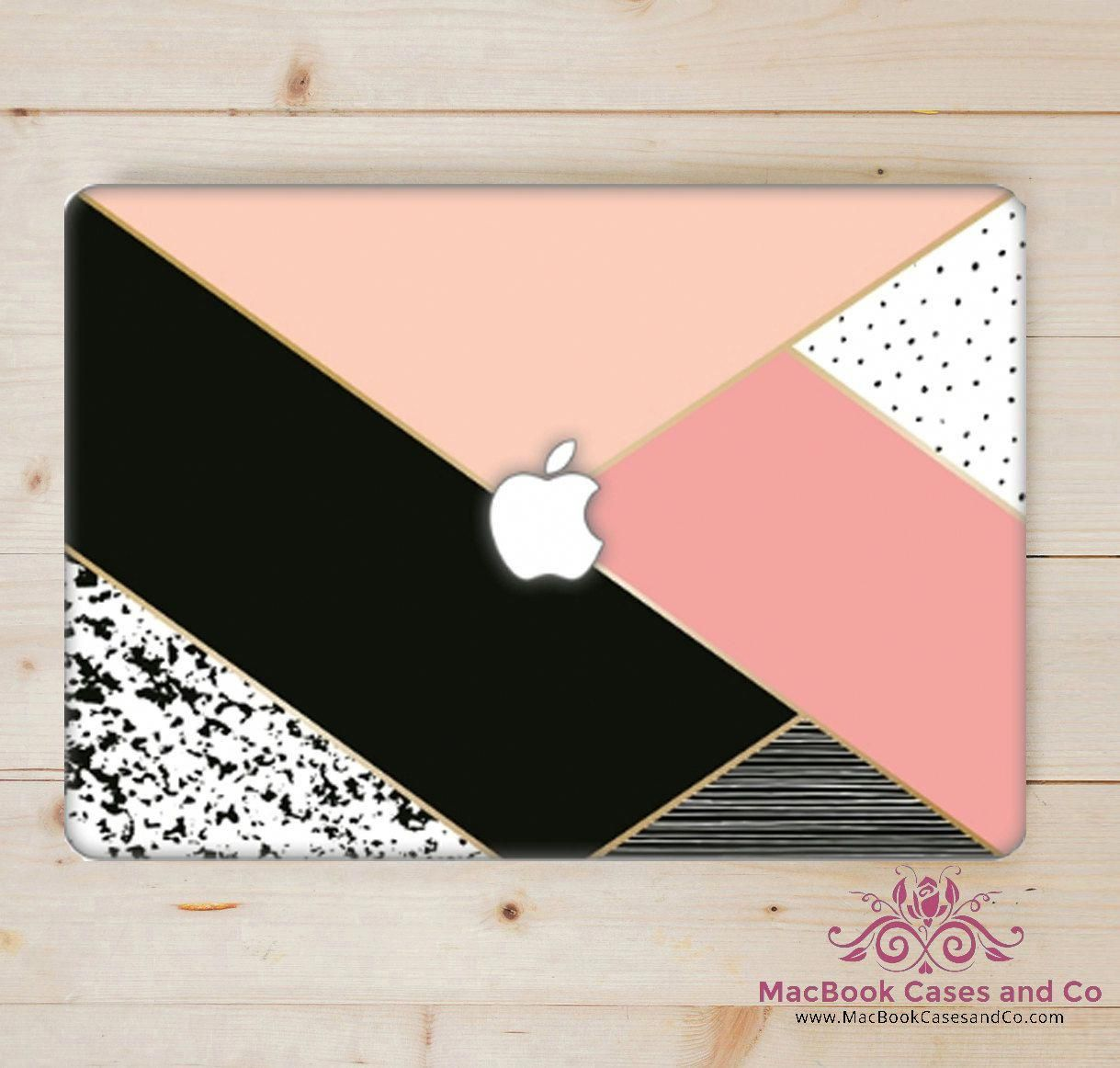 Geo Pink MacBook Case. MacBook Case. Top (printed) and