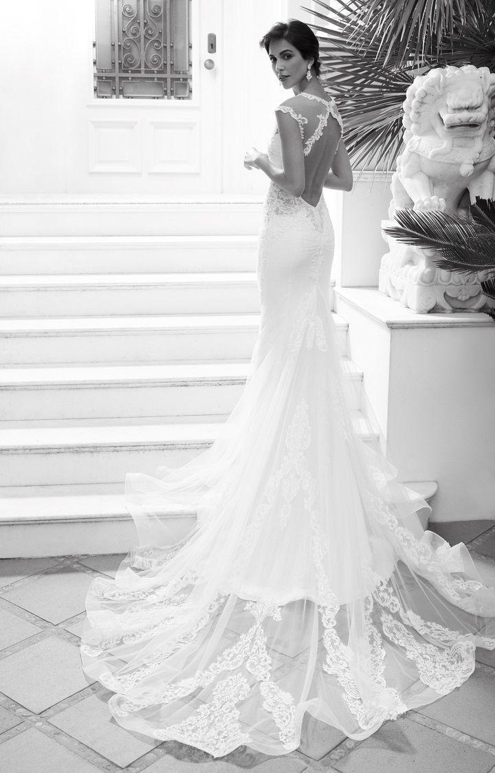 Alessandra Rinaudo 2018 Wedding Dresses | cap sleeve wedding dress cut back wedding gown medium train #weddinggown #bridalcollection #bridalgown