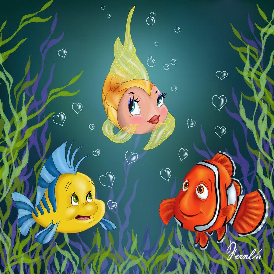 Flounder cleo nemo disney fishes dessins - Poisson rouge pinocchio ...