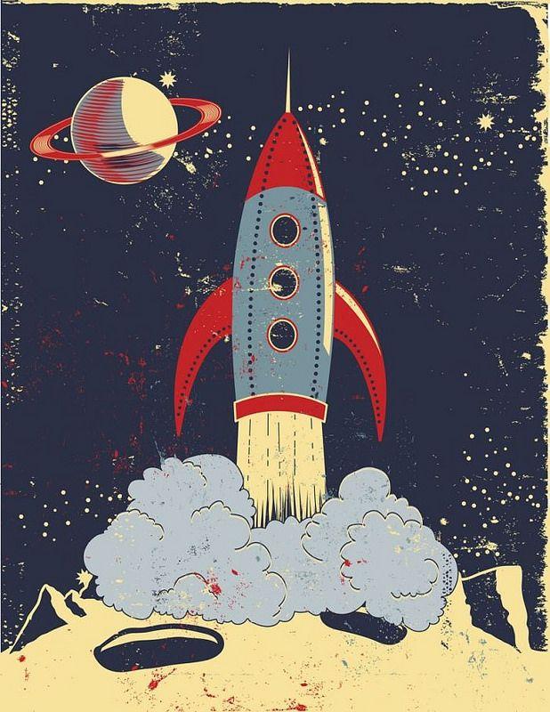 Retro Rocket Launch Mary Burr Rocket Art Retro Rocket Space Art