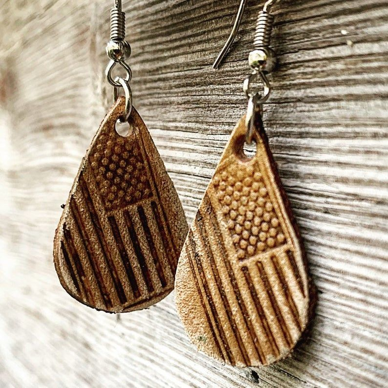 Hand Tooled Small Teardrop Shaped Chestnut Brown Leather Earrings