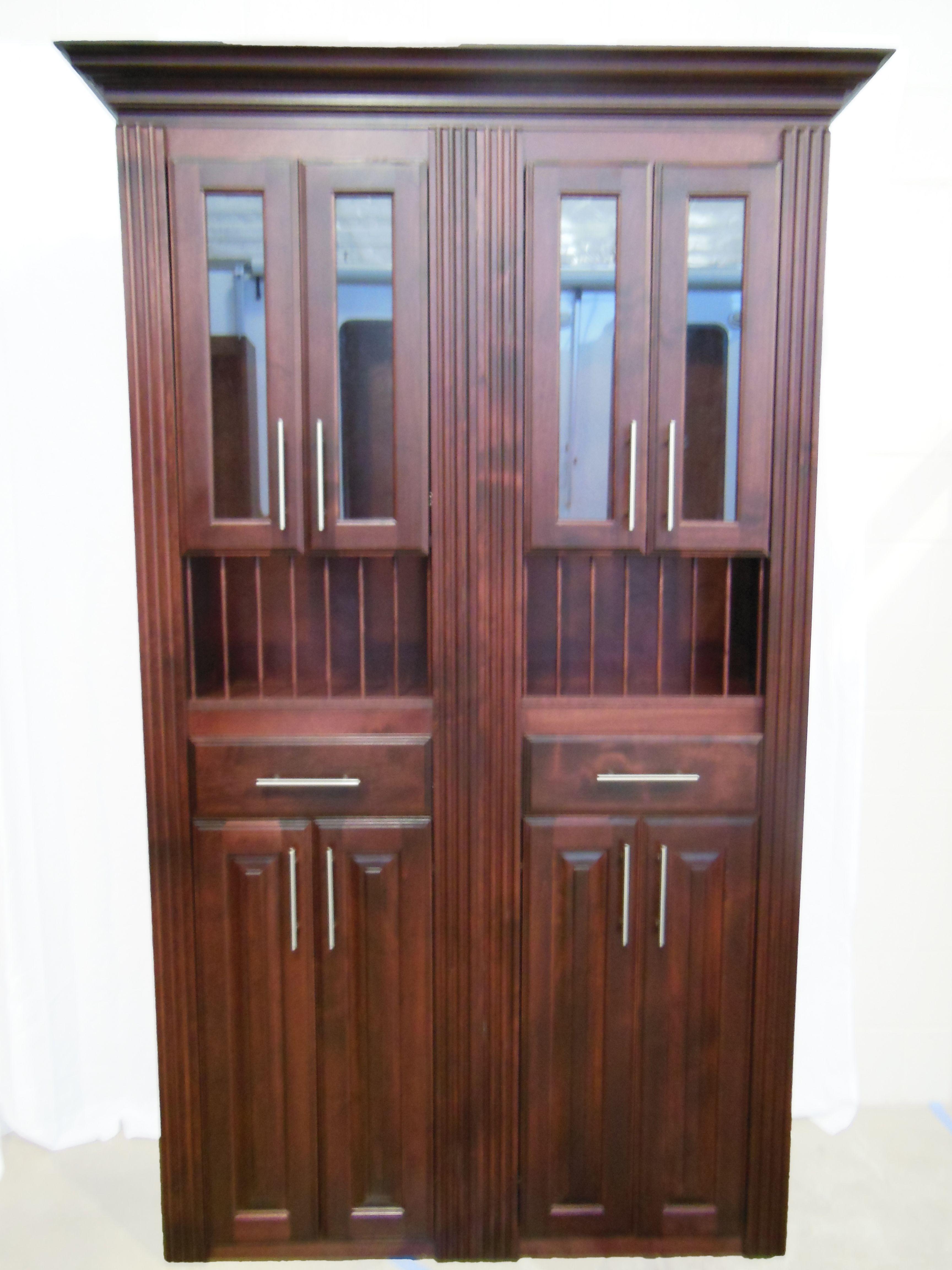4 Custom Murphy Door with optional upper glass doors plate rack