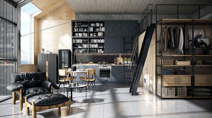 Cucina in stile industriale di design 03   Cucine   Pinterest   Lofts