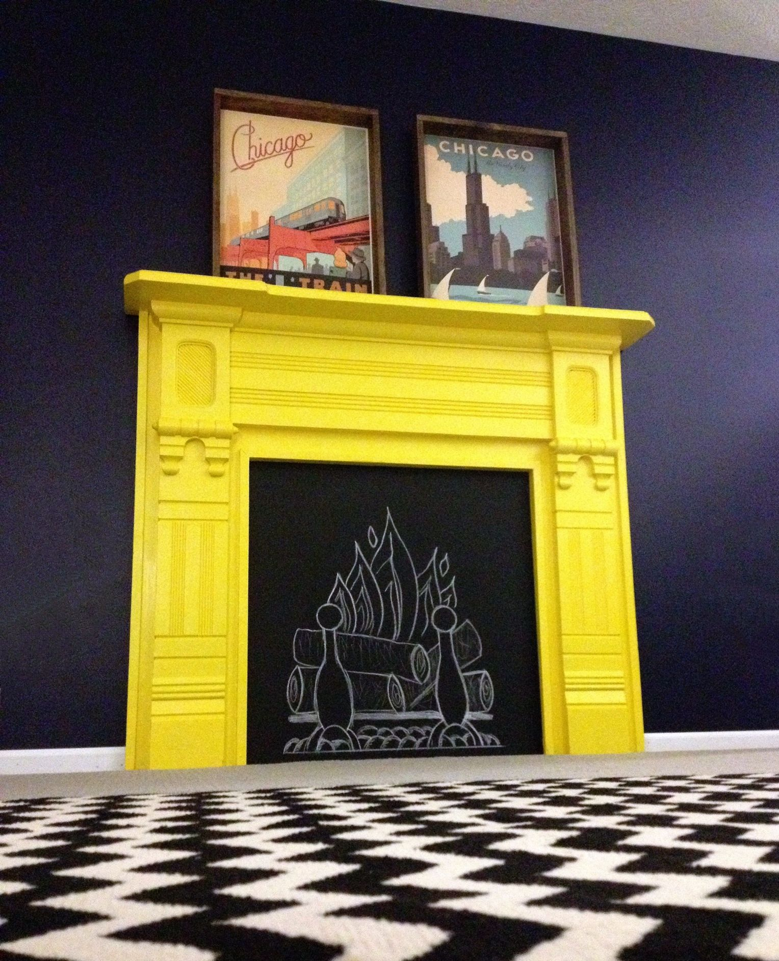 Our Yellow Fireplace Benjaminmoore Brightyellow Oldnavy Living Room Colors Painted Fireplace Mantels Room Colors