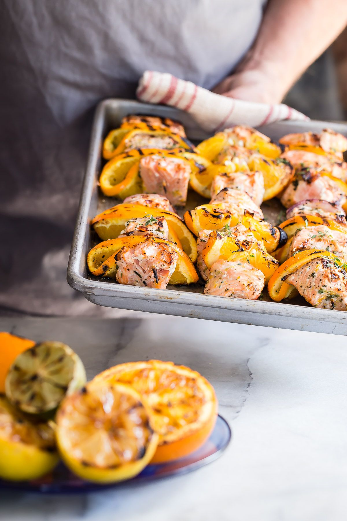 Grilled Salmon Kebabs in an Orange and Herb Marinade