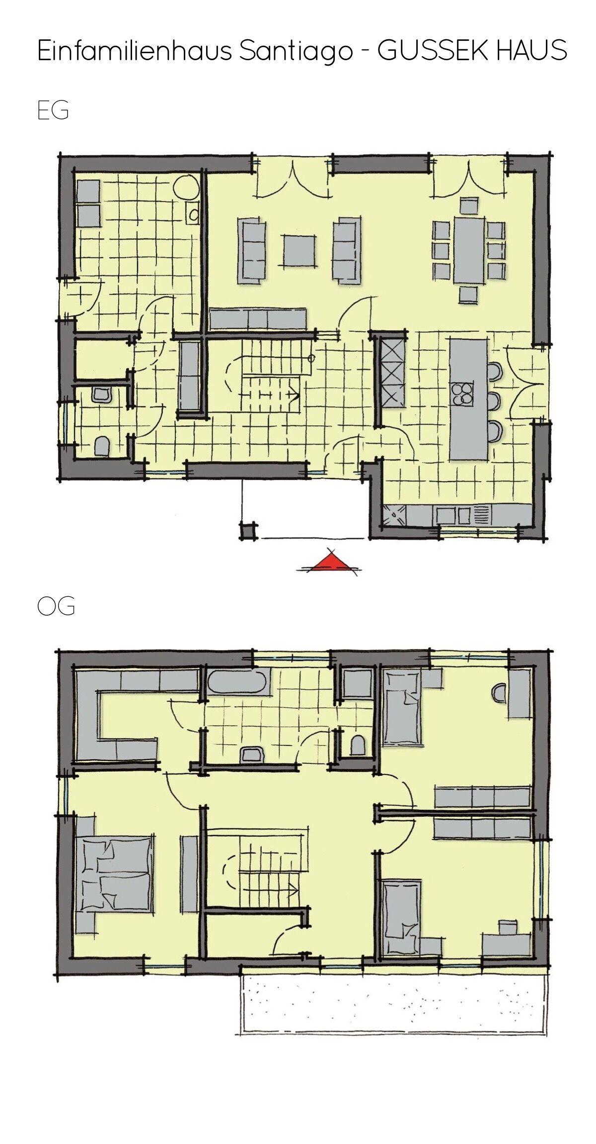 Einfamilienhaus Grundriss modern mit Flachdach Architektur