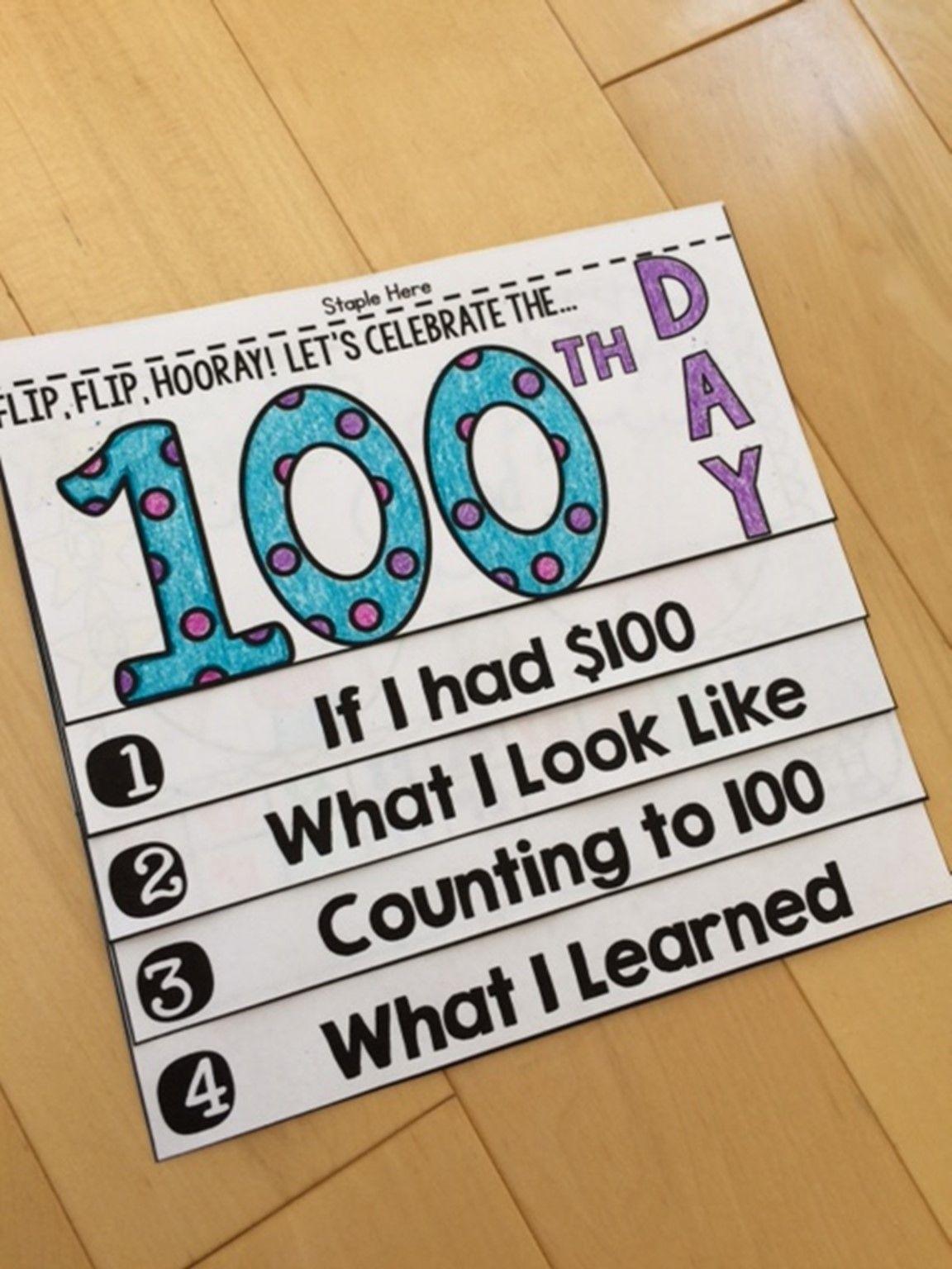 100th Day Flip Book (NO PREP)   2nd Grade Ideas   Pinterest ...