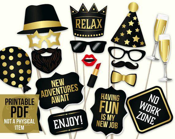 retirement photo booth props printable pdf retirement party ideas