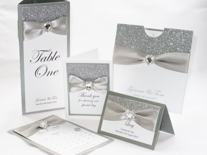 silver glitter wedding stationery set by sweetheart stationery