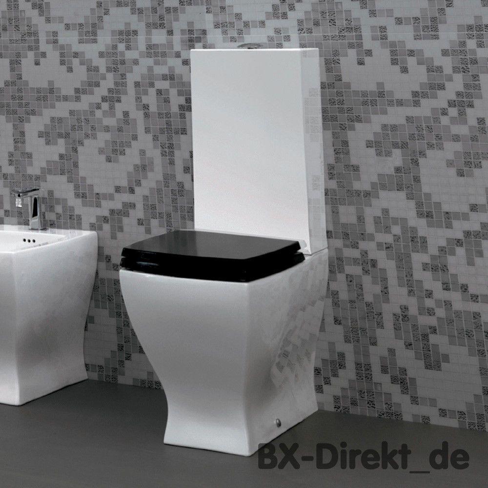 Relativ WC Retro Monoblock Toilette schwarz Stand WC mit Keramik IB24