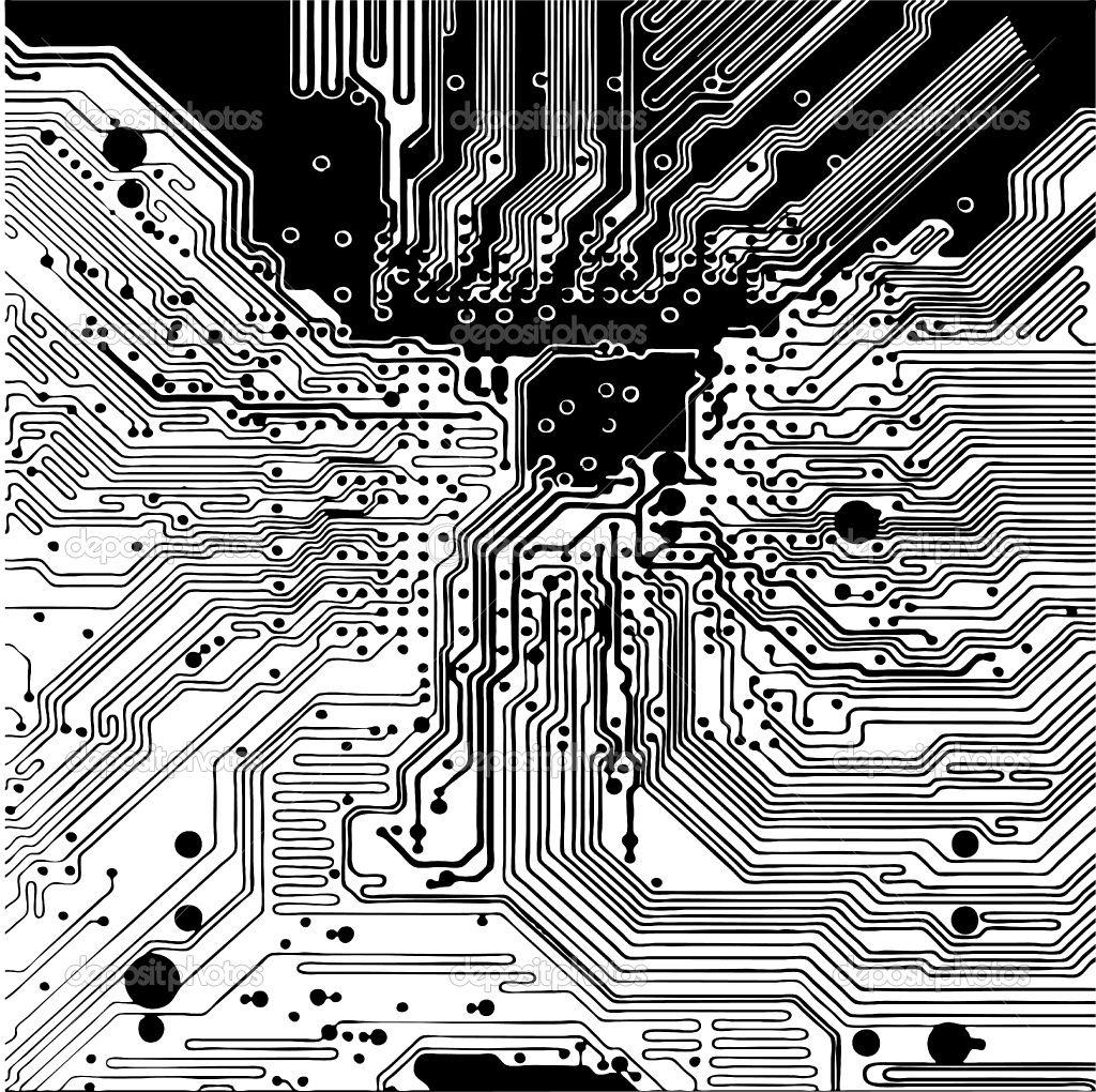 Computer Circuit Board Vector Stock Vector C Icetray 3317314
