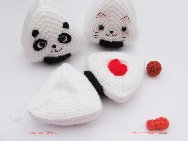 Japanese Onigiri Dolls Kitty Panda with special fillings heart ...