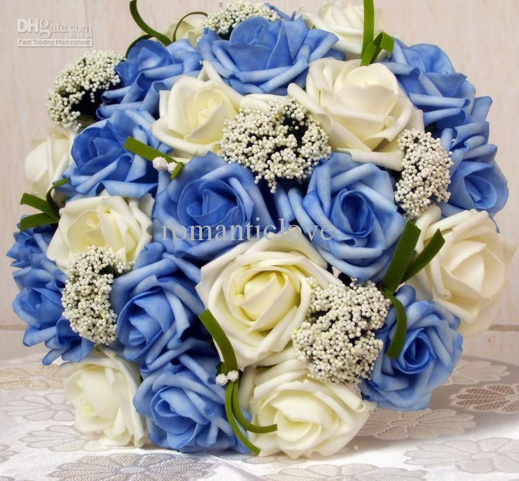 Cheap Wedding Bouquets Bride Blue Silk Flower Bridal Bouquet Artificial Rose Flowers As Low 2322 Also Buy Fresh Online From