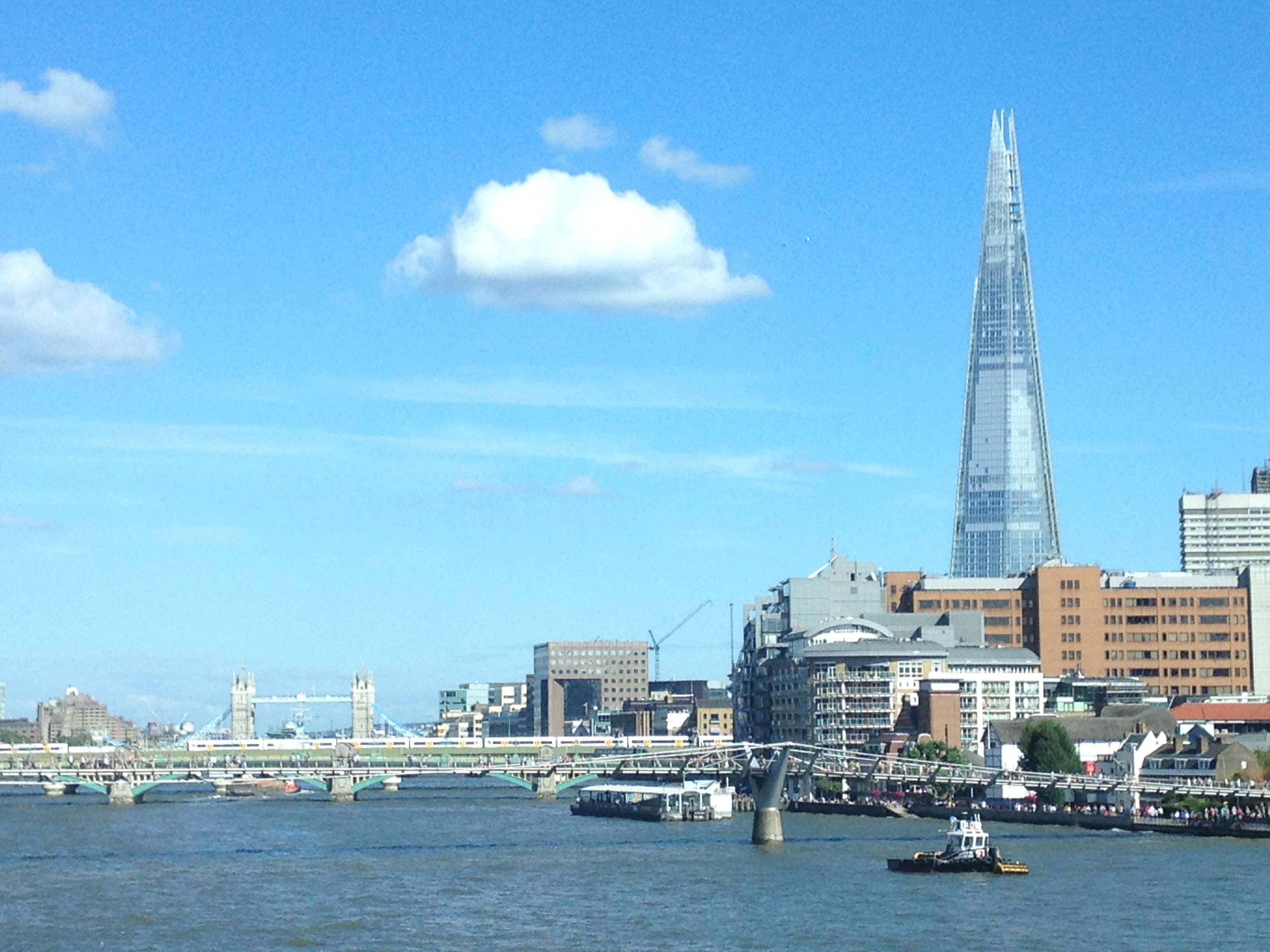 View from Blackfriars station platform down the Thames towards The Shard.