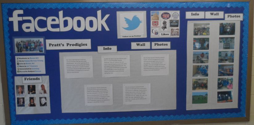 """Our Facebook Bulletin Board - we plan on leaving it up for a while - so the """"Info"""" part can be updated with what we are focusing on each week."""