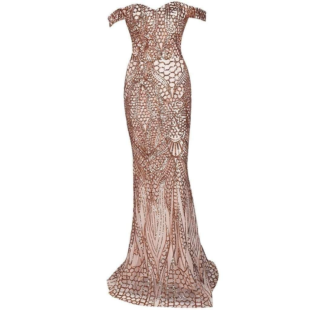 Gold off shoulder evening gown products pinterest products
