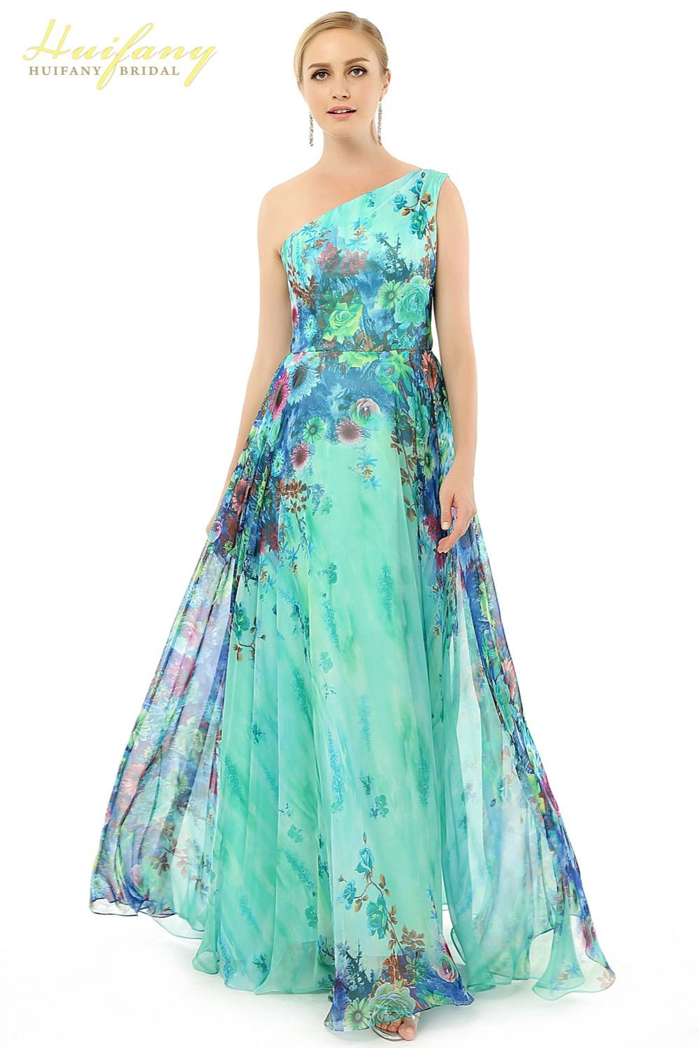 Huifany Flower Pattern Floral Print Chiffon Evening Dress One ...