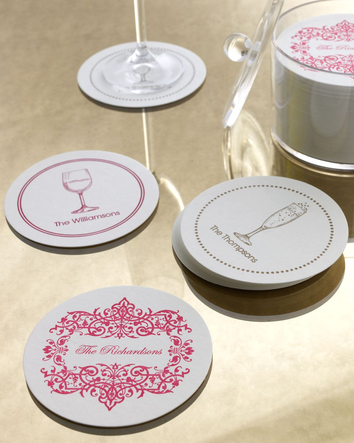 Filigree Border Coasters, Hot Pink - THE CHATSWORTH COLLECTION ...