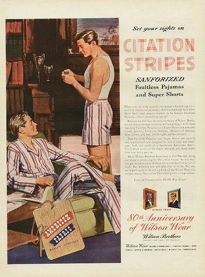 Vintage BEDTIME SLEEPWEAR PAJAMAS Advertisement Mad Men Poster 1950s Retro Print