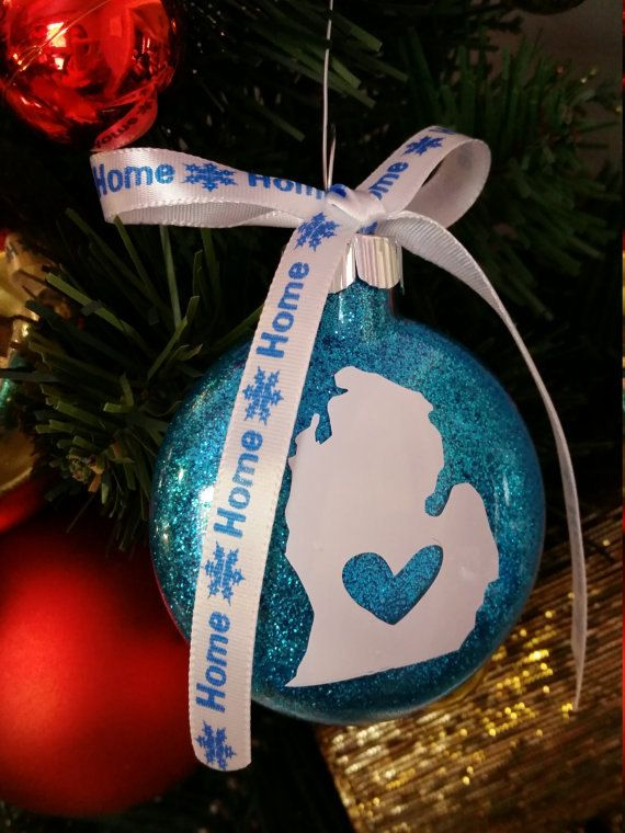 Check out Michigan Christmas Ornament - Michigan Christmas Ornament in your  choice of glitter color, Christmas Gift, Michigan Souvenir Gift on ... - Michigan Christmas Ornament - Michigan Christmas Ornament In Your
