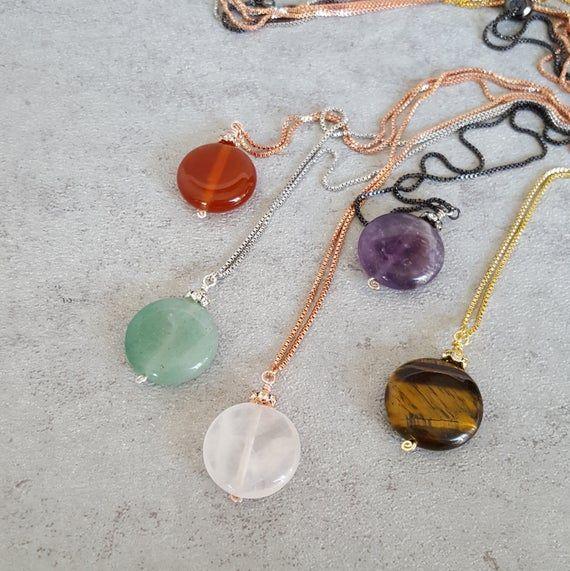 Ring holder pendant necklace, natural gemstone bolo necklace, Mindfulness gift, medical student gift #medicalstudents