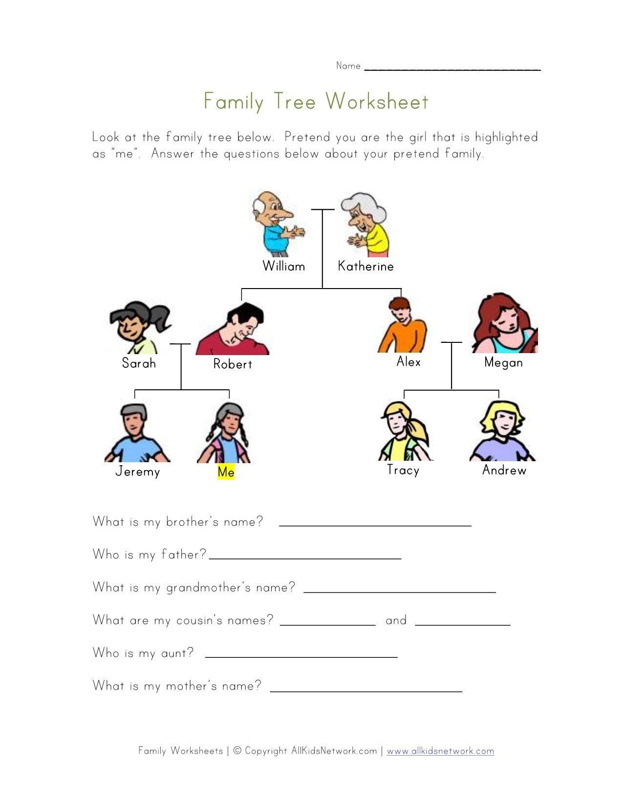 Worksheet Family Members For Kindergarten