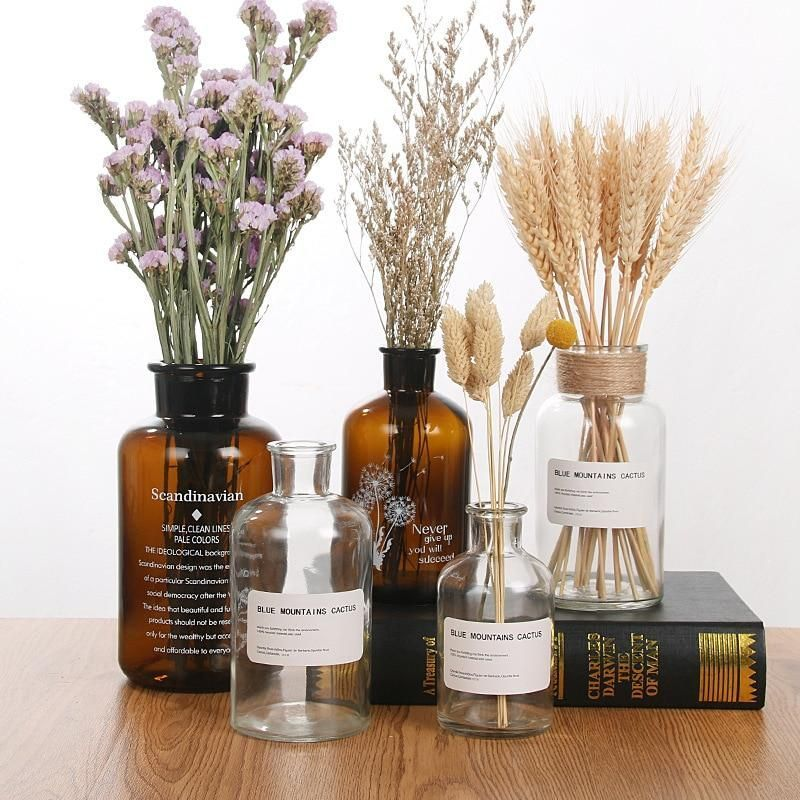 Nordic 20 Kinds Ins Wind Glass Reagent Vase Hydroponic Dried Flower Small Vase Living Room Decoration With Rope A In 2020 Glass Flower Vases Dried Flowers Vases Decor