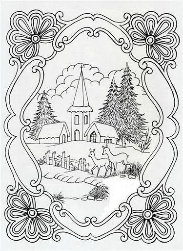Paysage Noël Perga 2 Handmade Embroidery Coloriage Noel