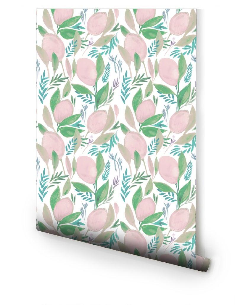 Pink Lemonade Pre Pasted Wallpaper Etsy Prepasted Wallpaper Blush Wallpaper Shop Wallpaper