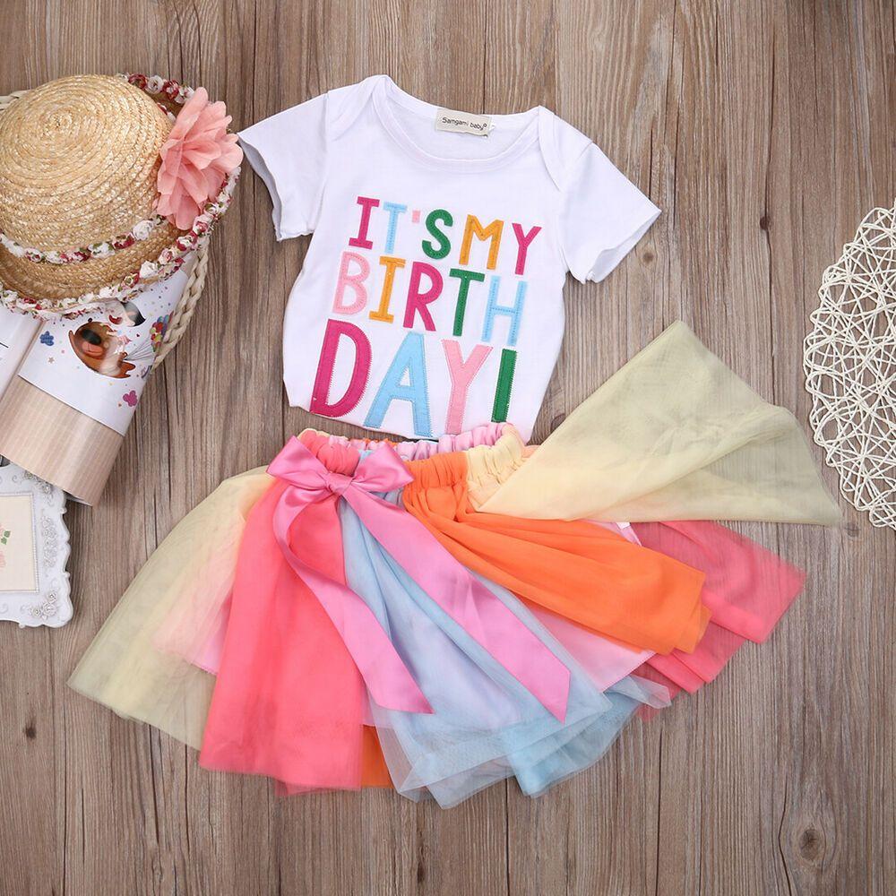 d1d94923e306 Baby Toddler Girls Rainbow Birthday Outfits Party T-Shirt Skirt Cake Tutu  Dress  Affilink