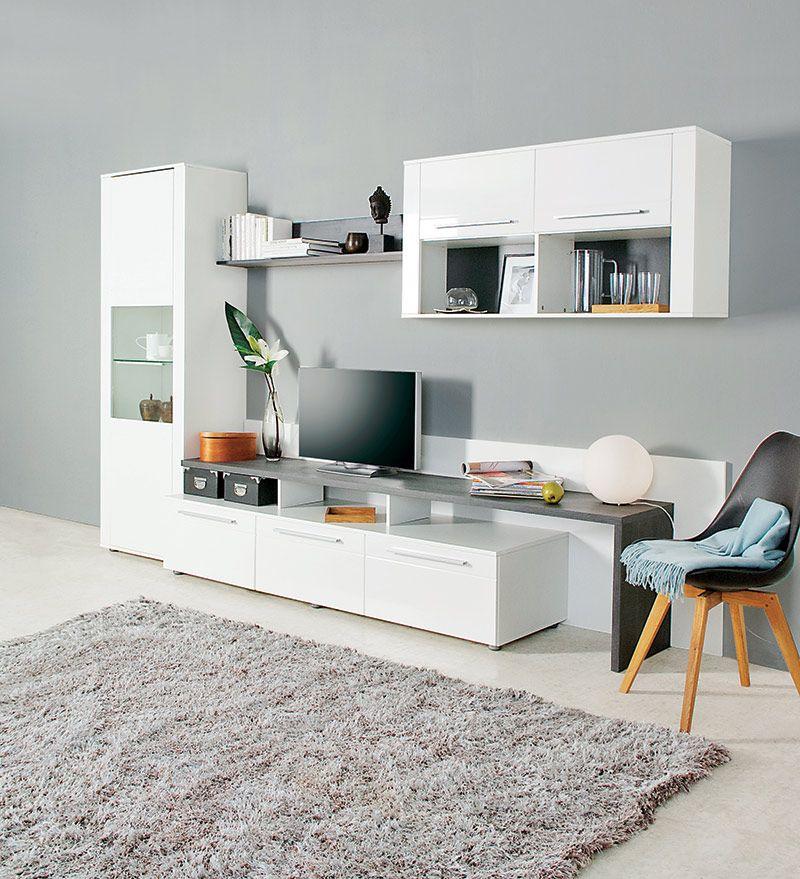 Ensemble Tv Mural Design Laque Arras Coloris Blanc Meuble Salon Mobilier Design Mobilier De Salon