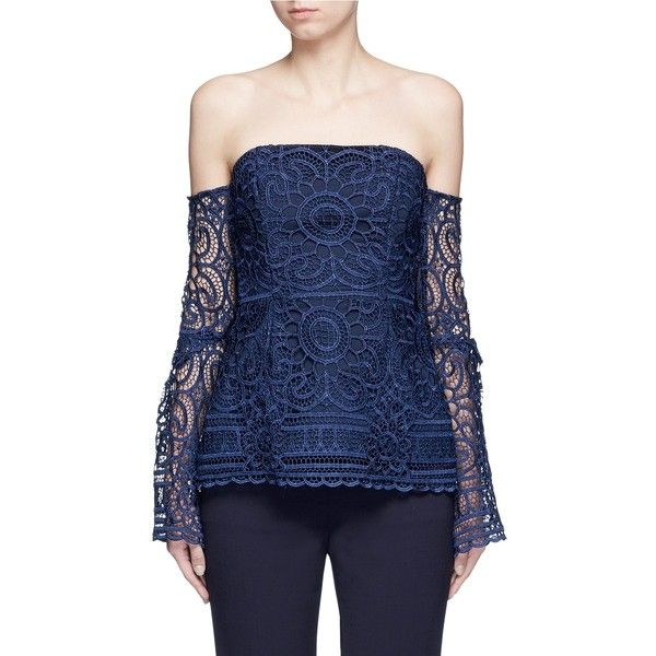 Nicholas Eva Off Shoulder Floral Lace Top 395 Liked On Polyvore Featuring Tops Blouses Blue Fl Floral Lace Tops Lace Bell Sleeve Top Blue Lace Blouse