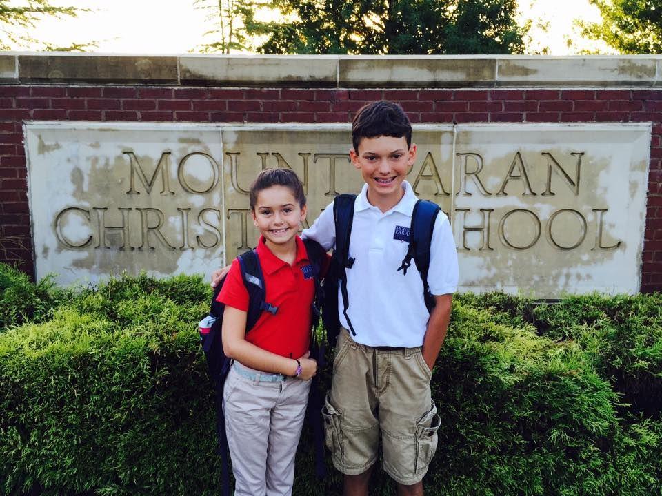 Rynne & Luke 1st day of school 5th and 8th grades 8-13-15.