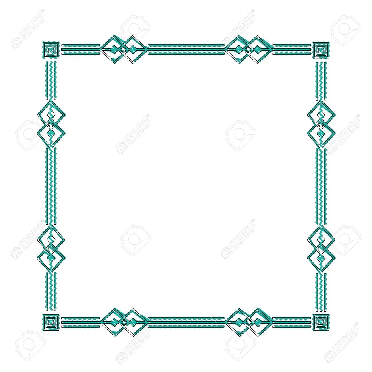 square victorian frame isolated icon vector illustration