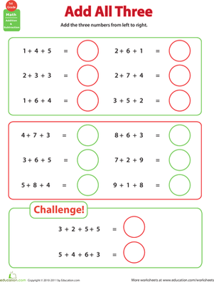 Printables Adding Three Numbers Worksheets add all three adding numbers addition worksheets we and the ojays