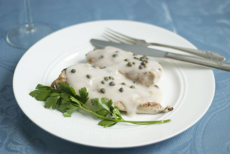 """Crawley Family Chicken Breasts with Caper Cream Sauce from """"The Unofficial Downton Abbey Cookbook""""."""