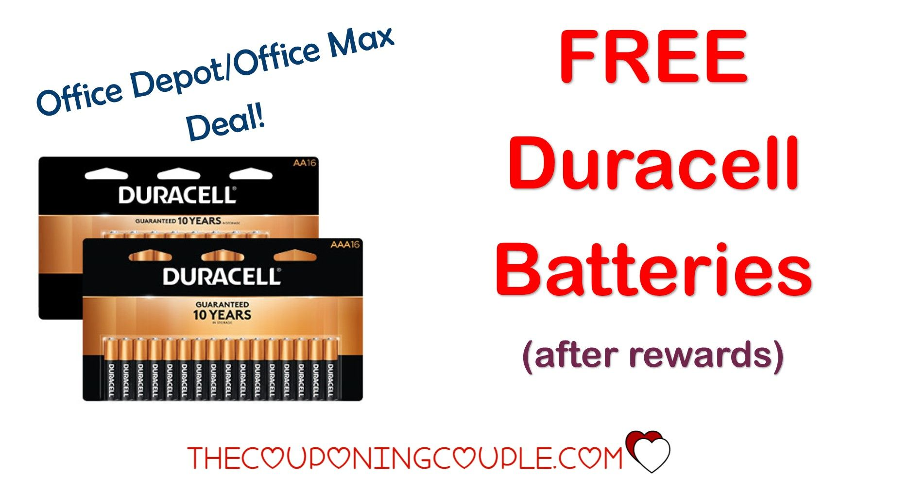 Office Depot Office Max Duracell Batteries FREE after