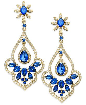 Velvet Bleu by EFFY 14k Gold Diffused Sapphire (4 ct. t.w.) and Diamond (5/8 ct. t.w.) Drop Earrings - FINE JEWELRY - Jewelry & Watches - Ma...