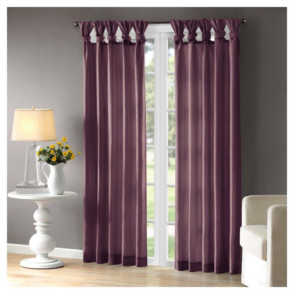 Lillian Twisted Tab Lined Curtain Panel Purple 50\