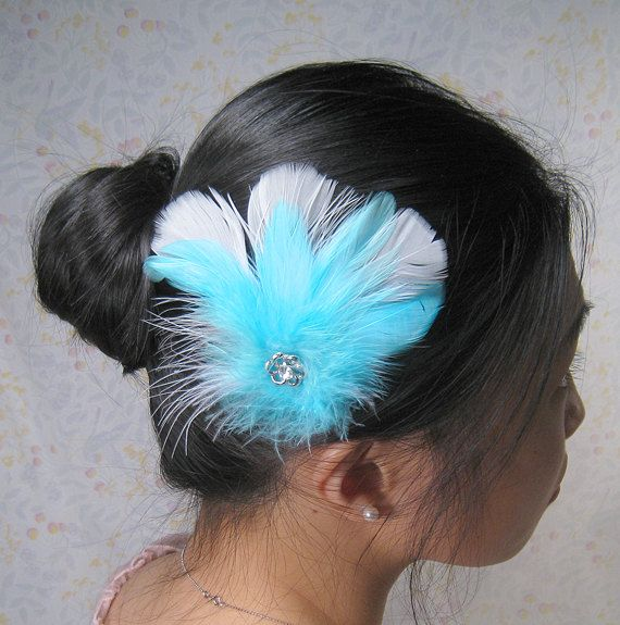 tiffany blue hair accessories   Tiffany aqua blue feather hair clip accessories bridal bridesmaids