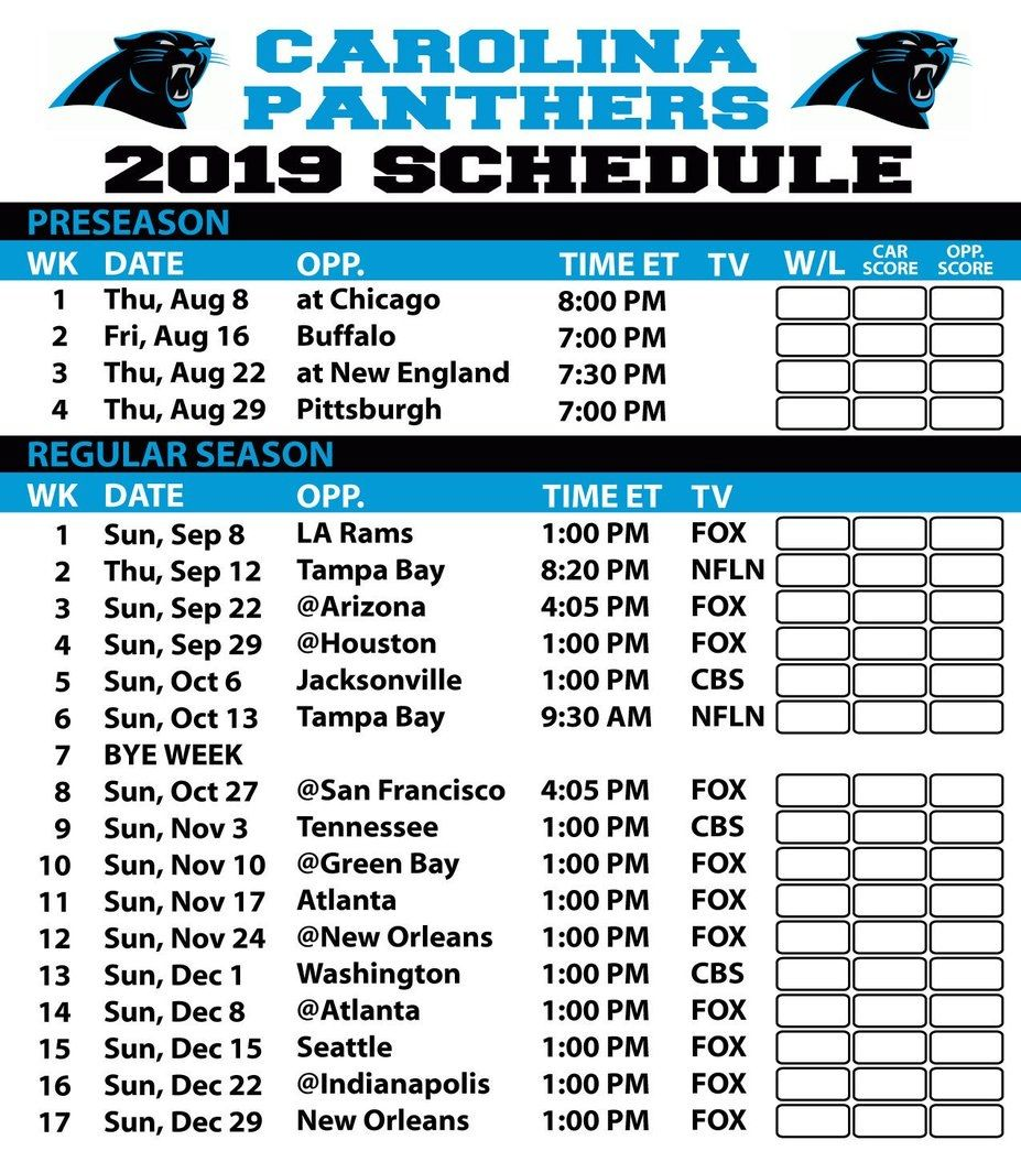 Carolina Panthers NFL Football Games Today Live Stream