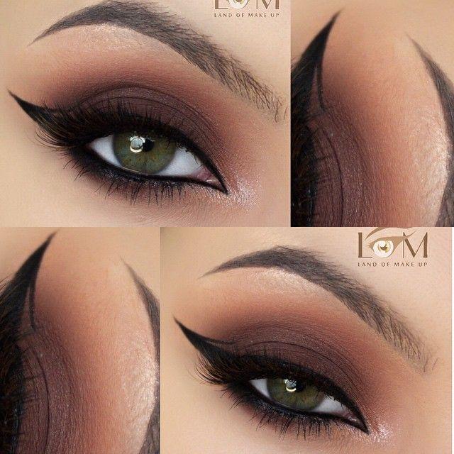 Warm Brown Smokey Eye W Arabic Liner W Tiny Graphic Detail On